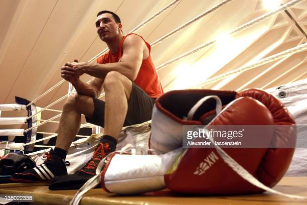 Wladimir Klitschko looks on after a training session at Hotel Stanglwirt on January 31 2012 in Going Austria Wladimir Klitschko will defences his WBA...