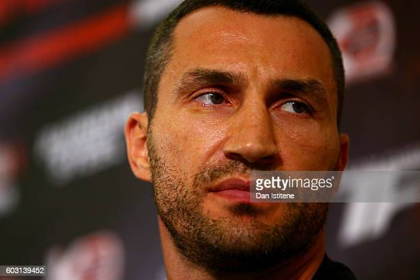 Wladimir Klitschko looks on at a press conference ahead of the world heavyweight title rematch between Tyson Fury and Wladimir Klitschko at the...