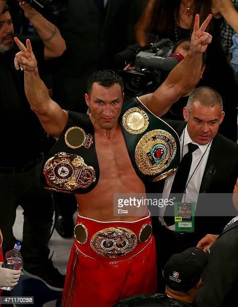 Wladimir Klitschko of the Ukraine celebrates his win over Bryant Jennings after their IBF/WBO/WBA World Heavyweight Championship title fight at...