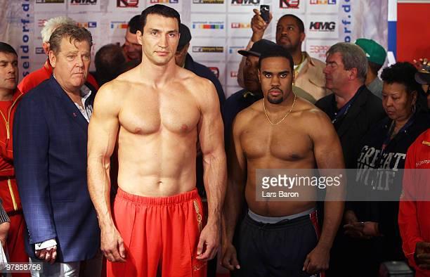 Wladimir Klitschko of Ukraine and Eddie Chambers of USA pose during the weigh in for the WBO Heavyweight World Championship fight between Wladimir...