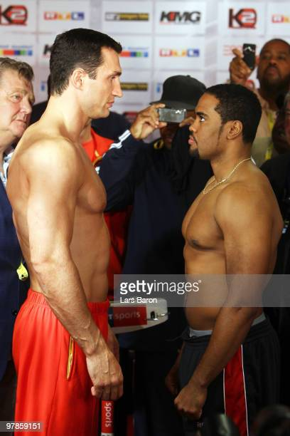 Wladimir Klitschko of Ukraine and Eddie Chambers of USA pose during the weigh in for the WBO Heavyweight World Championship fight between Wladimir...