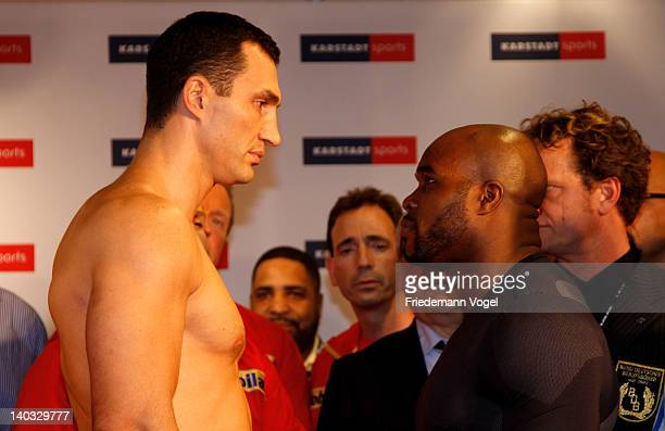 Wladimir Klitschko of Ukraine and JeanMarc Mormeck of France come face to face during the weigh in for their IBO WBO WBA and IBF heavy weight title...