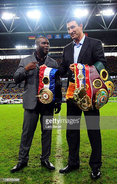 Wladimir Klitschko of Ukraine and JeanMarc Mormeck of France pose after a press conference at EspritArena on October 12 2011 in Duesseldorf Germany...