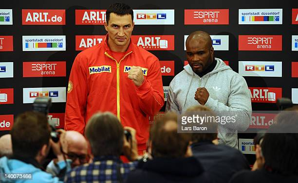 Wladimir Klitschko of Ukraine and JeanMarc Mormeck pose during a press conference at Intercontinental Hotel on February 27 2012 in Duesseldorf...