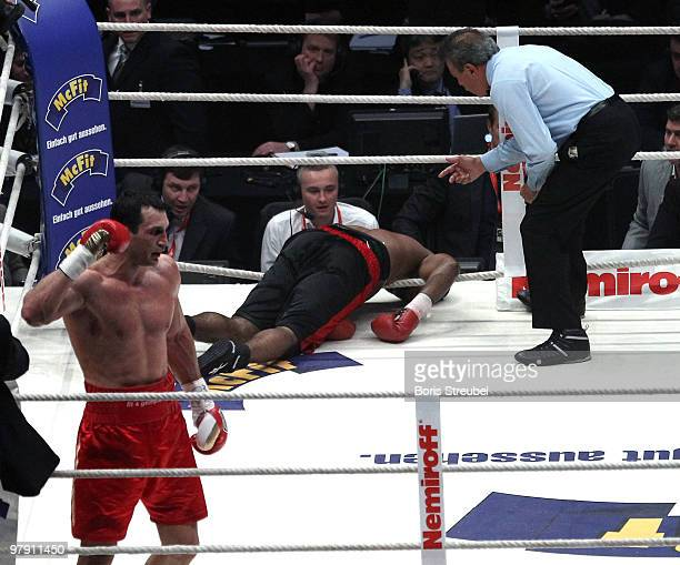 Wladimir Klitschko of Ukraine celebrates after he knocked out Eddie Chambers of USA in the twelfth round of their IBF WBO and IBO Heavyweight World...