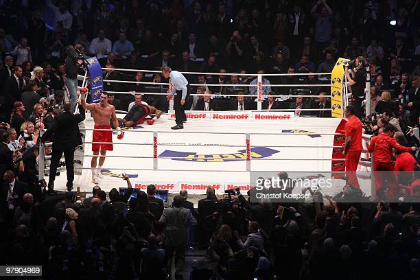 Wladimir Klitschko of Ukraine celebrates after his WBO Heavyweight World Championship fight against Eddie Chambers of USA at the Esprit Arena on...