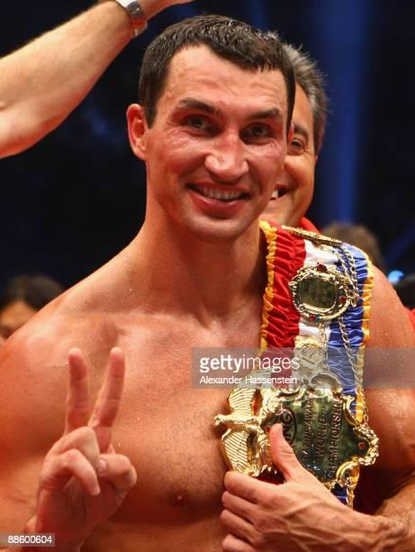 Wladimir Klitschko of Ukraine celebrates after his WBO, IBF & IBO Heavyweight title fight against Ruslan Chagaev of Uzbekistan at Veltins Arena on...