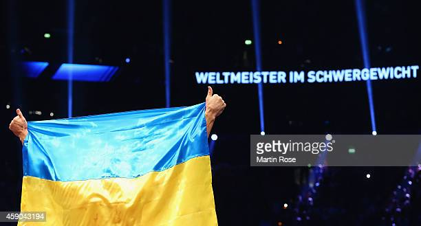 Wladimir Klitschko of Ukraine celebrates after winning against Kubrat Pulev of Bulgaria during their IBF heavy weight title fight between Wladimir...