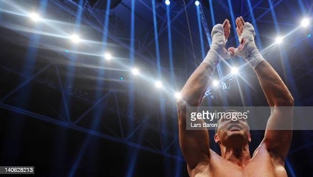 Wladimir Klitschko of Ukraine celebrates after winning his WBO WBA IBF and IBO heavy weight titel fight against Jean Marc Mormeck at Esprit Arena on...