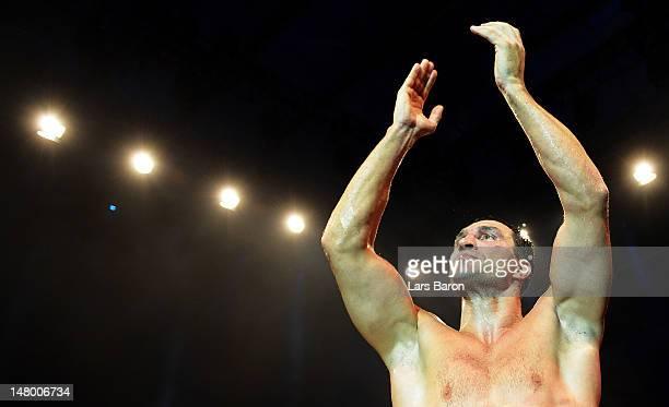 Wladimir Klitschko of Ukraine celebrates after winning the WBA-, IBF,- WBO- and IBO-heavy weight title fight between Wladimir Klitschko of Ukraine...