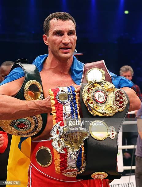 Wladimir Klitschko of Ukraine celebrates after winning the WBO WBA IBF and IBO heavy weight title fight between Wladimir Klitschkoat and Alex Lepai...