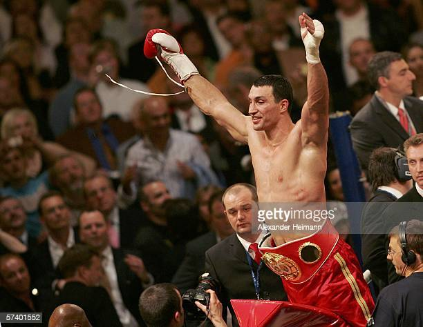 Wladimir Klitschko of Ukraine celebrates defeating Chris Byrd of the USA after their IBF and vacant IBO World Haevyweight Championship fight at the...