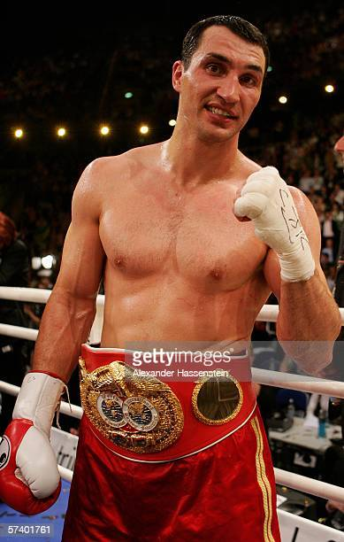 Wladimir Klitschko of Ukraine celebrates defeating Chris Byrd of the USA after their IBF and vacant IBO World Heavyweight Championship fight at the...