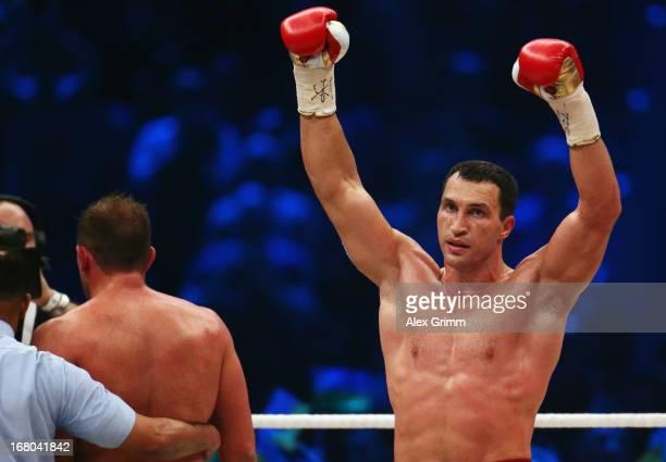 Wladimir Klitschko of Ukraine celebrates defeating Francesco Pianeta of Italy and retaining his IBF, IBO, WBA, WBO titles after their World...