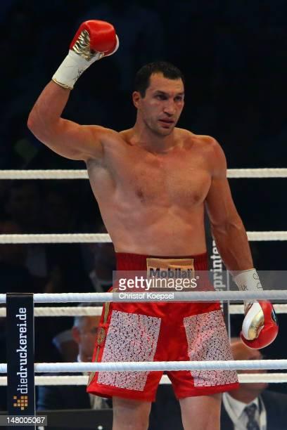 Wladimir Klitschko of Ukraine celebrates his victory after the WBA-, IBF,- WBO- and IBO-heavy weight title fight between Wladimir Klitschko of...