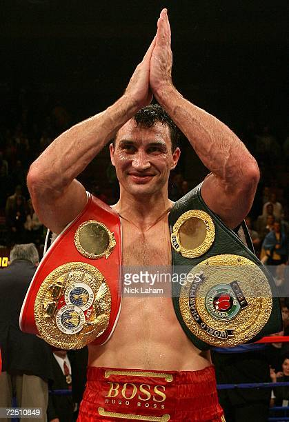Wladimir Klitschko of Ukraine celebrates his win after knocking out Calvin Brock in the seventh round of the IBF & IBO World Heavyweight Championship...