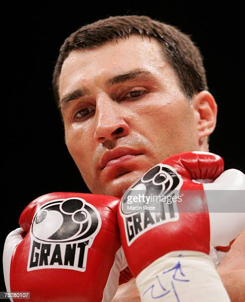Wladimir Klitschko of Ukraine concentrates prior the IBO and IBF World Heavyweight Championship fight at the Koeln Arena on July 7 2007 in Cologne...
