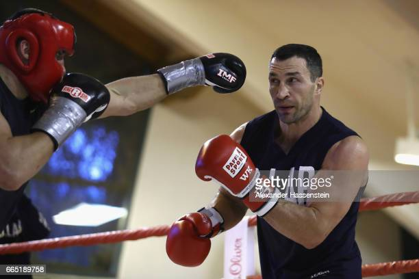 Wladimir Klitschko of Ukraine during a sparring round at a training session at Hotel Stanglwirt on April 6 2017 in Going Austria The Heavyweight...