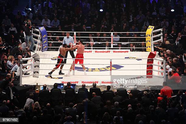 Wladimir Klitschko of Ukraine fights Eddie Chambers of USA during their WBO Heavyweight World Championship fight at the Esprit Arena on March 20 2010...