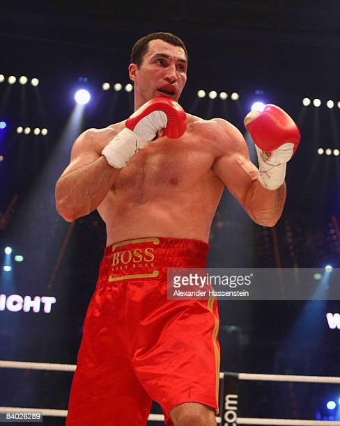 Wladimir Klitschko of Ukraine in action during his IBF/IBO and WBO World Heavyweight Championship fight against Hasim Rahman of United States at the...