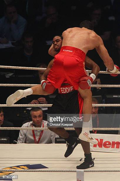 Wladimir Klitschko of Ukraine is hold by Eddie Chambers of USA during their WBO Heavyweight World Championship fight at the Esprit Arena on March 20...