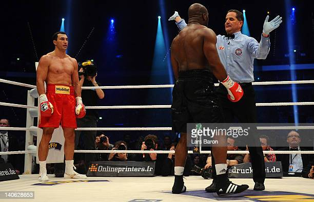 Wladimir Klitschko of Ukraine knocks out Jean Marc Mormeck of France during their WBO WBA IBF and IBO heavy weight titel fight at Esprit Arena on...