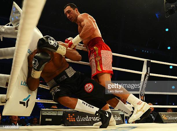 Wladimir Klitschko of Ukraine knocks out Tony Thompson of USA during the WBA-, IBF,- WBO- and IBO-heavy weight title fight between Wladimir Klitschko...