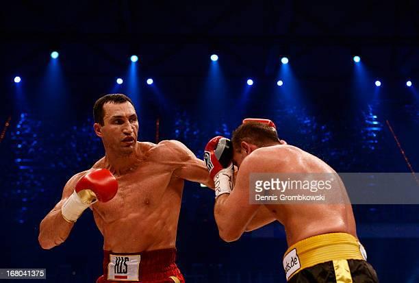 Wladimir Klitschko of Ukraine lands a punch against Francesco Pianeta during their IBF, IBO, WBA, WBO World Championship fight at SAP Arena on May 4,...