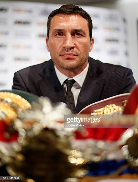 Wladimir Klitschko of Ukraine looks on during a press conference ahead of the upcoming heavyweight boxing title fight between Klitschko and Kubrat...