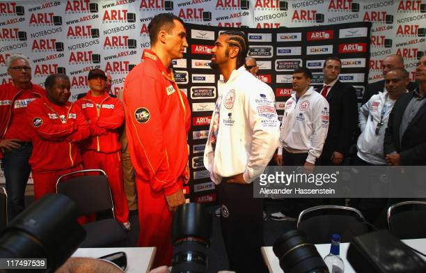 Wladimir Klitschko of Ukraine pose on a head to head with David Haye of England after a press conference on June 27 2011 in Hamburg Germany The WBO...