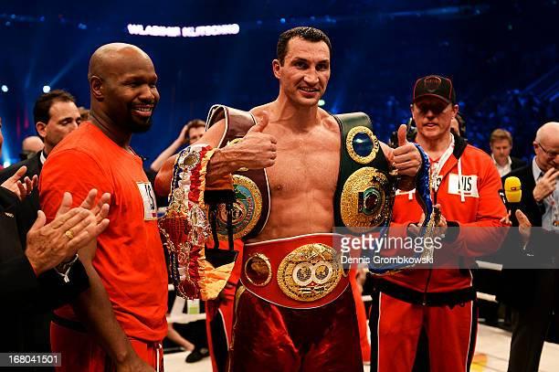 Wladimir Klitschko of Ukraine poses with his belts as he celebrates defeating Francesco Pianeta of Italy and retaining his IBF, IBO, WBA, WBO titles...