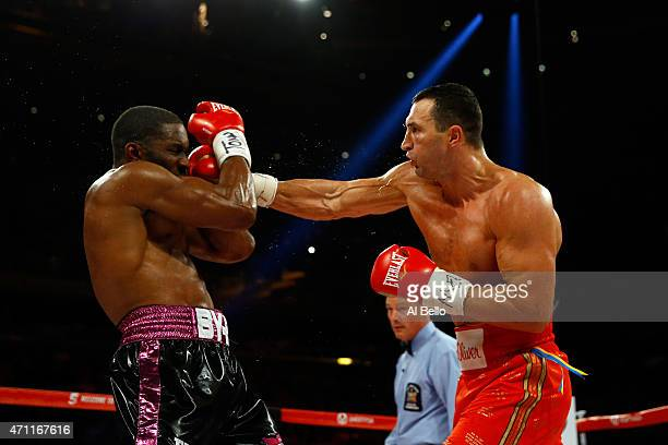 Wladimir Klitschko of Ukraine throws a right to the face of Bryant Jennings of the United States during their IBF/WBO/WBA World Heavyweight...