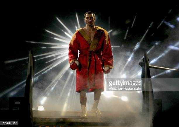 Wladimir Klitschko of Ukraine walks in for his IBF and vacant IBO World Haevyweight Championship fight against Chris Byrd of the USA at the SAP Arena...