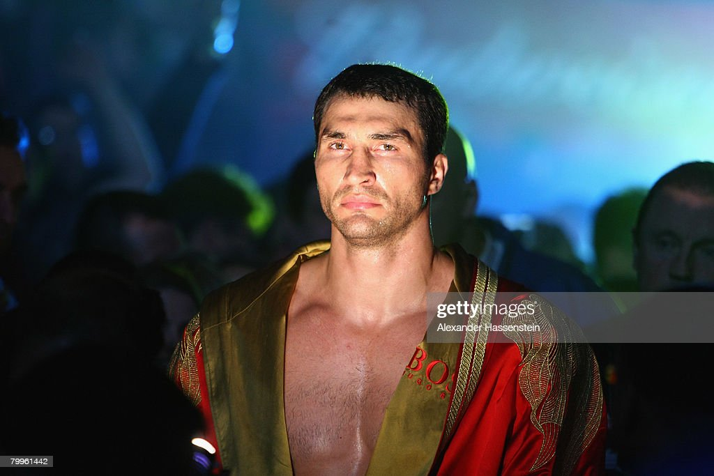 Wladimir Klitschko of Ukraine walks in for his WBO and IBF/IBO Unification Heavywight World Championship fight against Sultan Ibragimov of Russia at Madison Square Garden on February 23, 2008 in New York City.