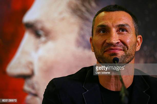 Wladimir Klitschko speaks at a press conference ahead of the world heavyweight title rematch between Tyson Fury and Wladimir Klitschko at the...