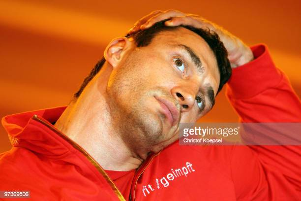 Wladimir Klitschko strechtes during a training session at the Stanglwirt on March 2 2010 in Going Austria