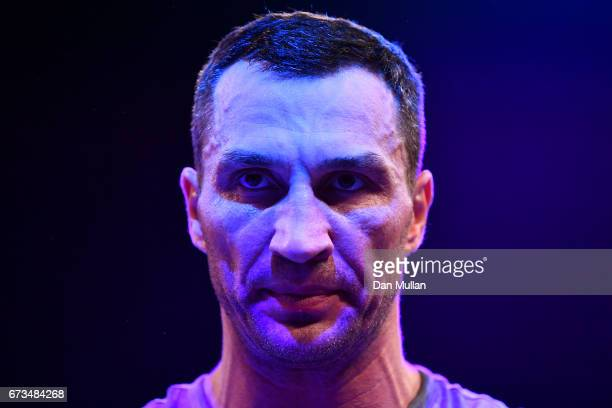 Wladimir Klitschko takes part in an open workout at Wembley Arena on April 26 2017 in London England Anthony Joshua and Wladimir Klitschko are due to...