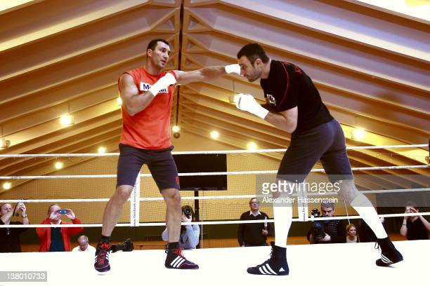 Wladimir Klitschko with his brother Vitali Klitschko during a training session at Hotel Stanglwirt on January 31 2012 in Going Austria Vitali...