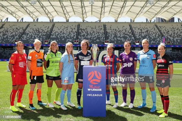 League players pose during the W-League 2019/20 Season Launch at Bankwest Stadium on November 07, 2019 in Sydney, Australia.