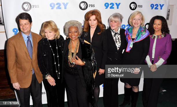 WNET/Thirteen president Neal Shapiro actors Angie Dickinson Nichelle Nichols Stefanie Powers Linda Evans and PBS president Paula Kerger attend the...