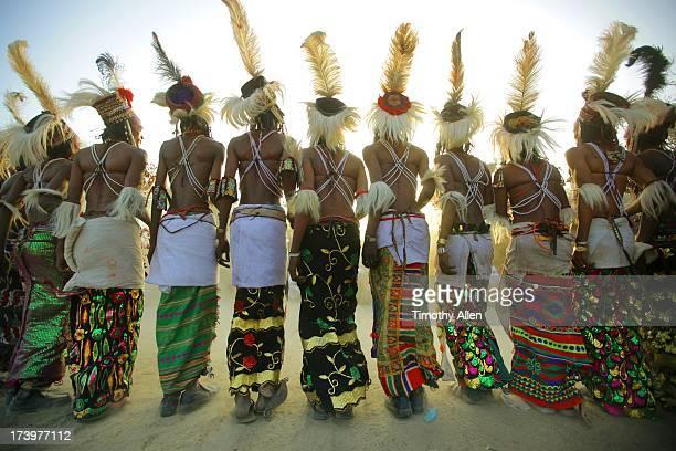 Wodaabe tribal men dance with feather headdresses