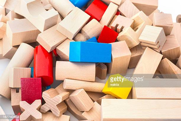 wodden colored toy cubes
