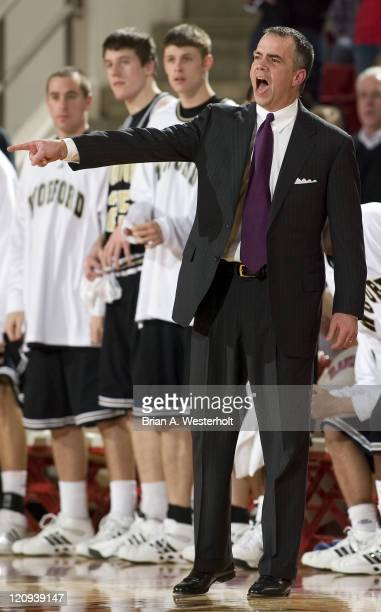 Wofford head coach Mike Young yells instructions to his players during second half action versus Davidson at the Belk Arena in Davidson, NC, Monday,...