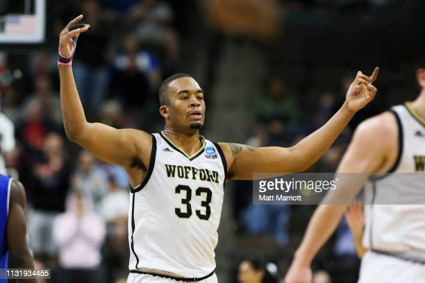 Wofford Terriers forward Cameron Jackson reacts during a game against the Seton Hall Pirates in the first round of the 2019 NCAA Photos via Getty...