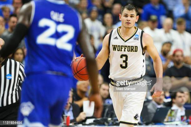 Wofford Terriers guard Fletcher Magee dribbles the ball against the Seton Hall Pirates in the first round of the 2019 NCAA Photos via Getty Images...