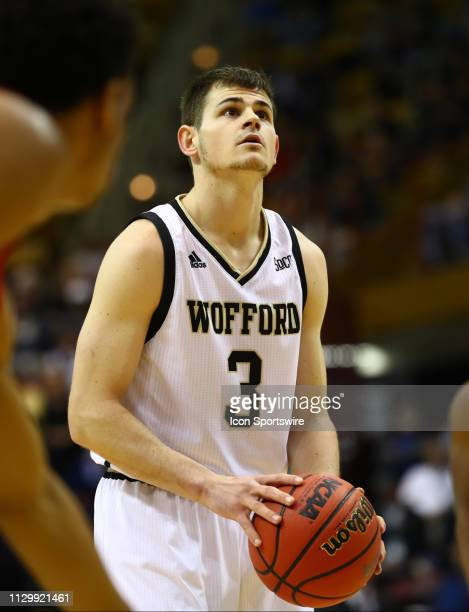 Wofford Terriers guard Fletcher Magee shoots a free throw during the Southern Conference Tournament game between Wofford and VMI on March 9 2019 at...