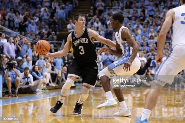 Wofford's Fletcher Magee and North Carolina's Kenny Williams during the North Carolina Tar Heels game versus the Wofford Terriers on December 20 at...