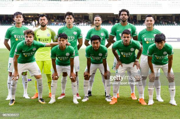 Wofoo Tai Po squad pose for team photo during the Hong Kong FA Cup final between Kitchee and Wofoo Tai Po at the Hong Kong Stadium on May 26, 2018 in...