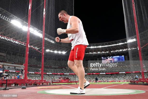 Wojciech Nowicki of Team Poland competes in the Men's Hammer Throw Final on day twelve of the Tokyo 2020 Olympic Games at Olympic Stadium on August...
