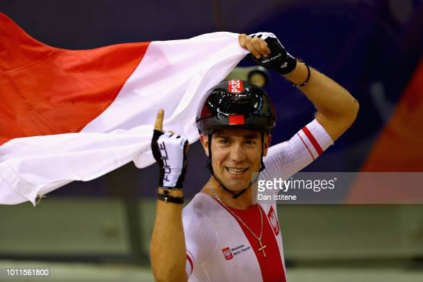 Wojciech Pszczolarski of Poland celebrates winning gold in the Mens 40km Points Race during the track cycling on Day Four of the European...